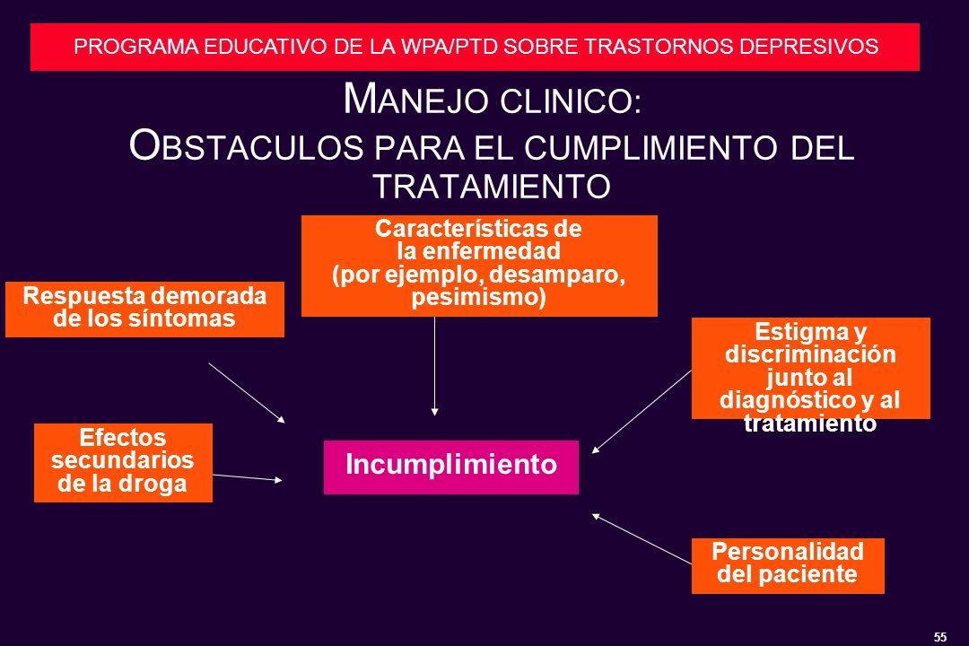MANEJO CLINICO: OBSTACULOS PARA EL CUMPLIMIENTO DEL TRATAMIENTO