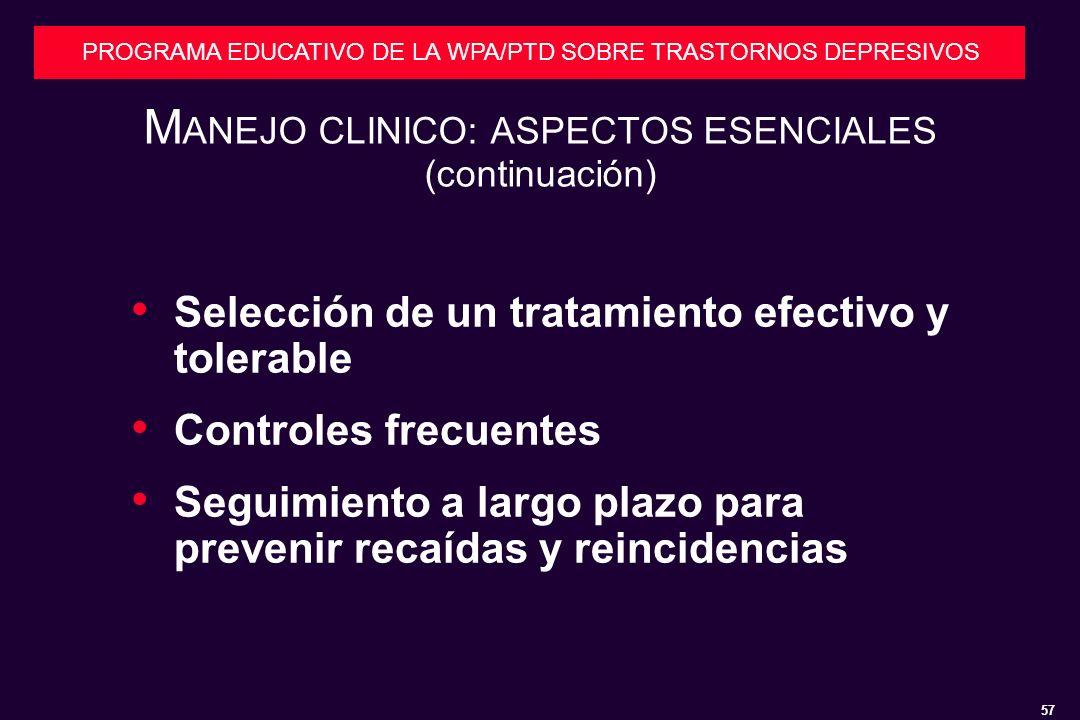 MANEJO CLINICO: ASPECTOS ESENCIALES (continuación)
