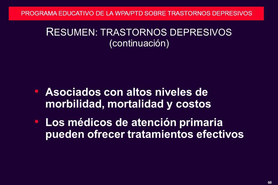 RESUMEN: TRASTORNOS DEPRESIVOS (continuación)