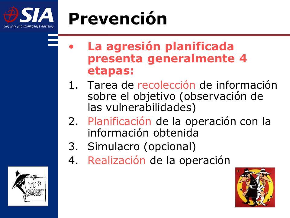 Prevención La agresión planificada presenta generalmente 4 etapas: