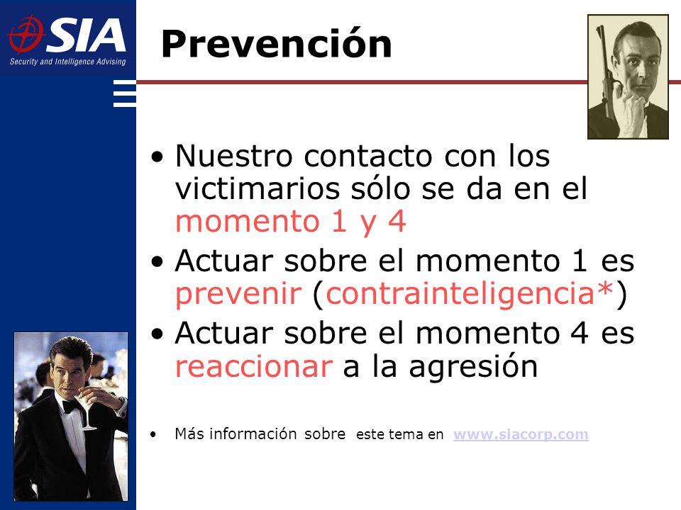 Prevención Nuestro contacto con los victimarios sólo se da en el momento 1 y 4. Actuar sobre el momento 1 es prevenir (contrainteligencia*)