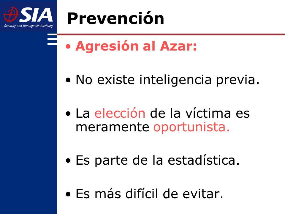 Prevención Agresión al Azar: No existe inteligencia previa.