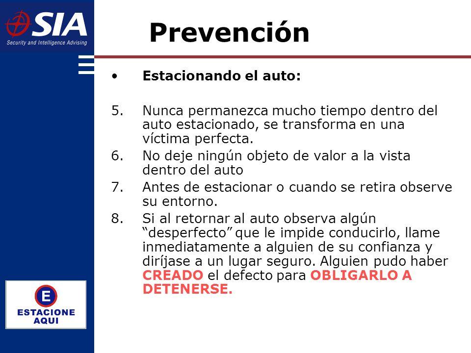 Prevención Estacionando el auto: