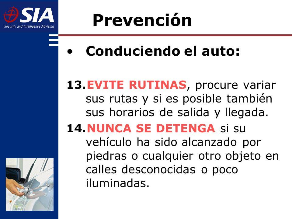 Prevención Conduciendo el auto: