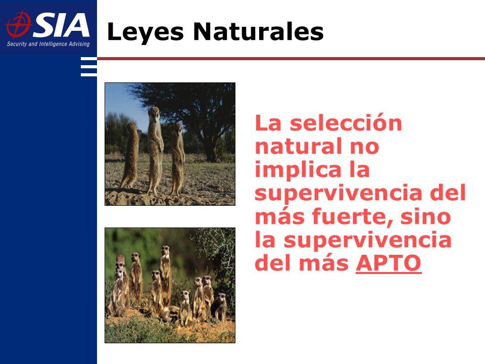 Leyes Naturales La selección natural no implica la supervivencia del más fuerte, sino la supervivencia del más APTO.