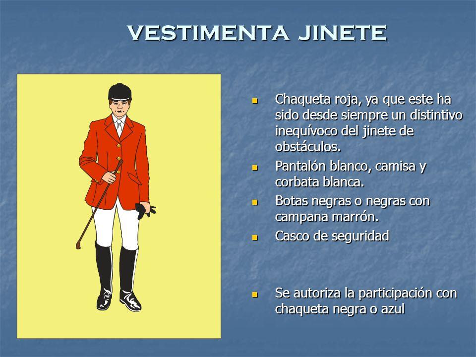 vestimenta jinete Chaqueta roja, ya que este ha sido desde siempre un distintivo inequívoco del jinete de obstáculos.
