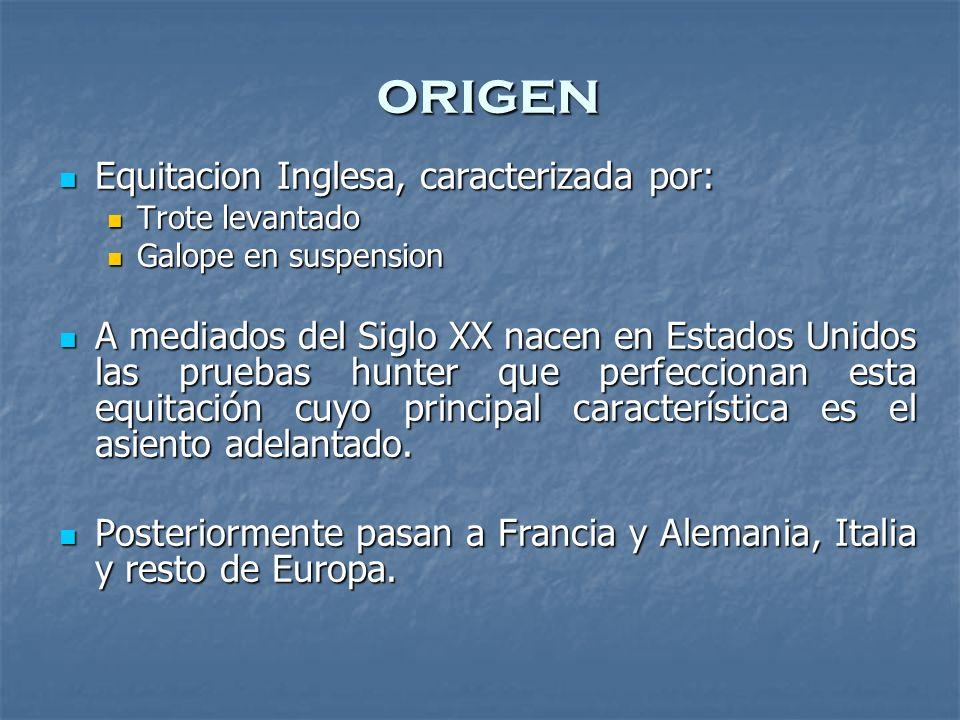 origen Equitacion Inglesa, caracterizada por: