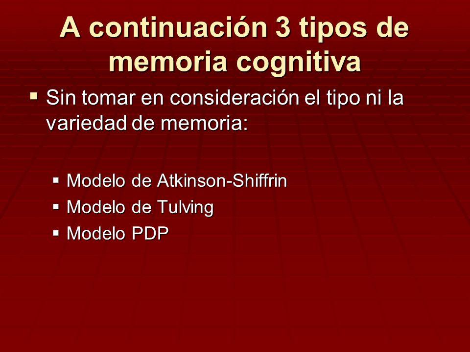 A continuación 3 tipos de memoria cognitiva