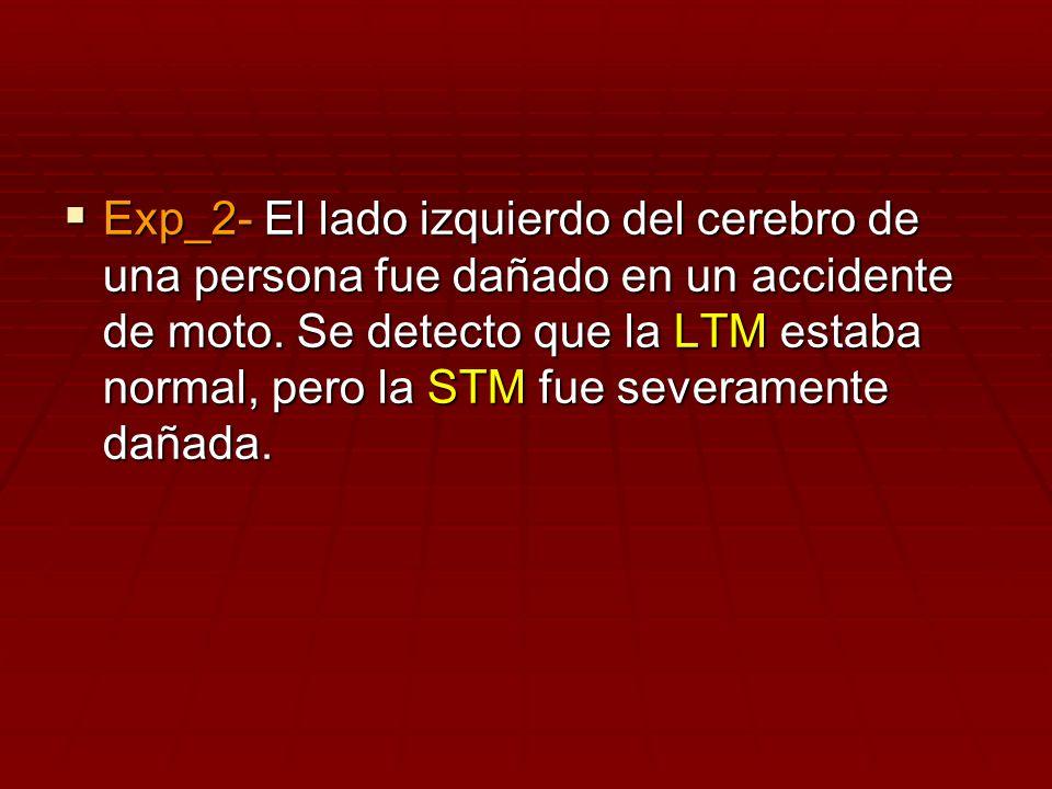 Exp_2- El lado izquierdo del cerebro de una persona fue dañado en un accidente de moto.