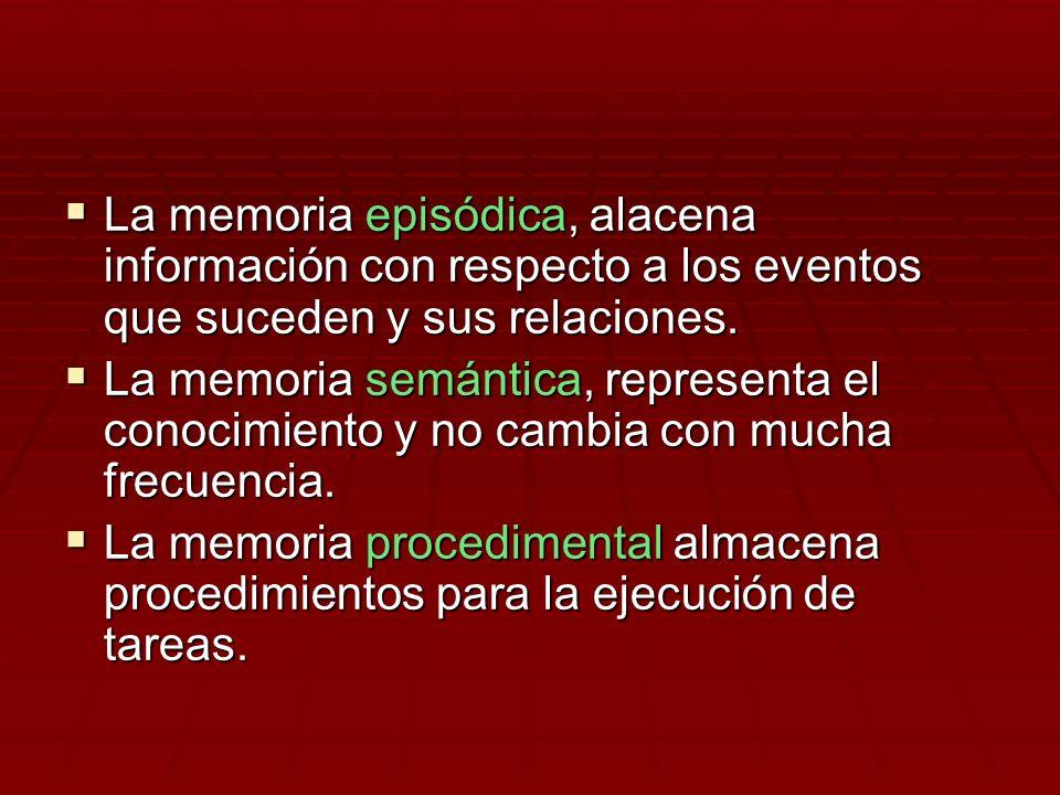 La memoria episódica, alacena información con respecto a los eventos que suceden y sus relaciones.
