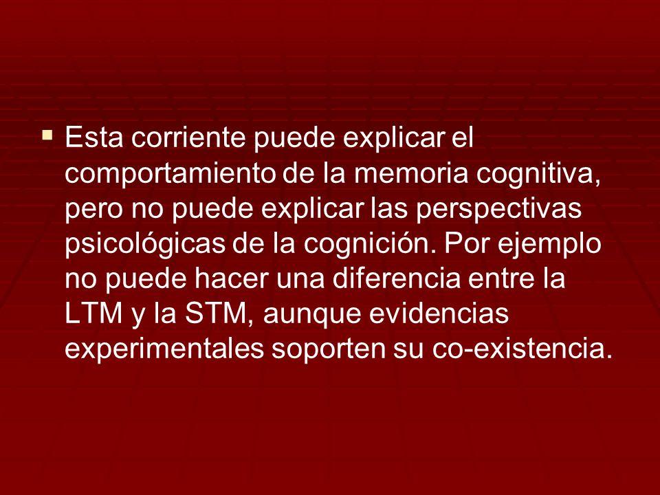 Esta corriente puede explicar el comportamiento de la memoria cognitiva, pero no puede explicar las perspectivas psicológicas de la cognición.