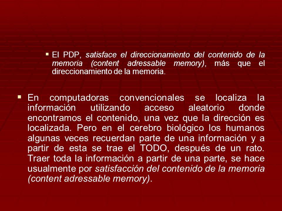 El PDP, satisface el direccionamiento del contenido de la memoria (content adressable memory), más que el direccionamiento de la memoria.
