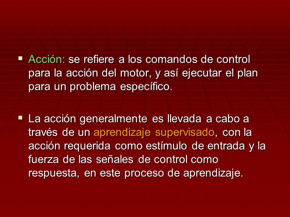 Acción: se refiere a los comandos de control para la acción del motor, y así ejecutar el plan para un problema específico.