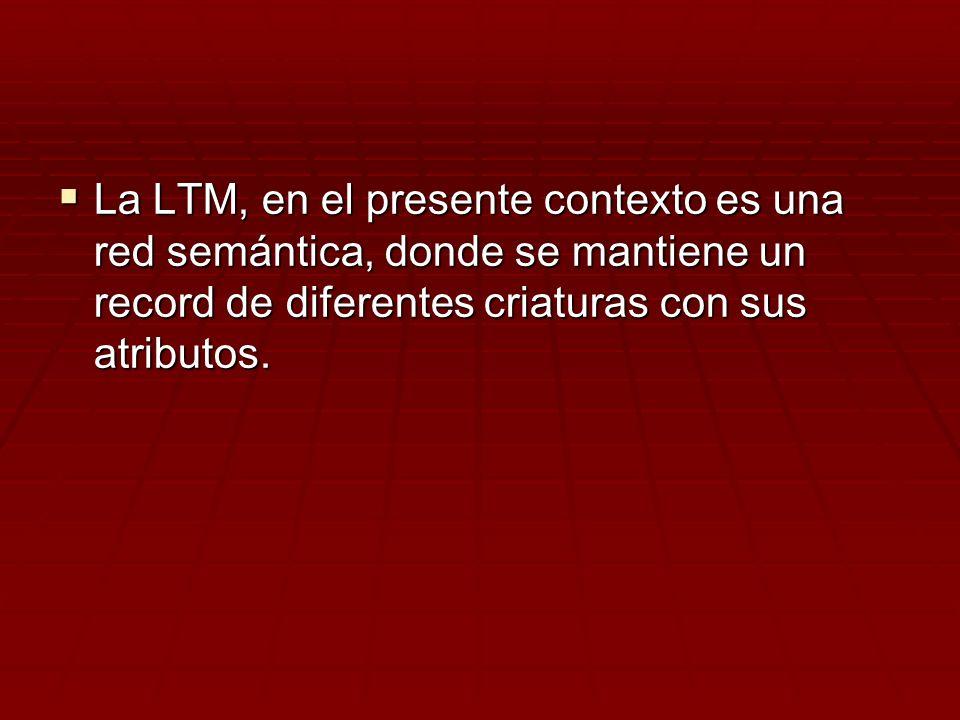 La LTM, en el presente contexto es una red semántica, donde se mantiene un record de diferentes criaturas con sus atributos.