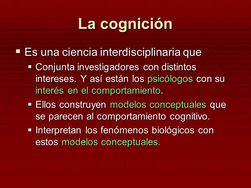 La cognición Es una ciencia interdisciplinaria que