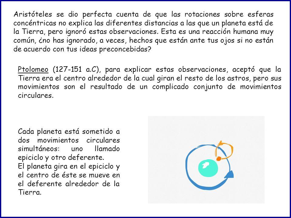 Aristóteles se dio perfecta cuenta de que las rotaciones sobre esferas concéntricas no explica las diferentes distancias a las que un planeta está de la Tierra, pero ignoró estas observaciones. Esta es una reacción humana muy común, ¿no has ignorado, a veces, hechos que están ante tus ojos si no están de acuerdo con tus ideas preconcebidas