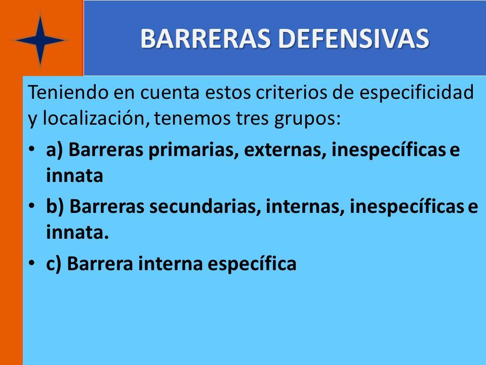 BARRERAS DEFENSIVAS Teniendo en cuenta estos criterios de especificidad y localización, tenemos tres grupos: