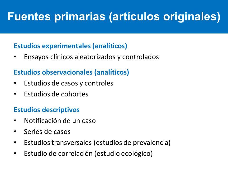 Fuentes primarias (artículos originales)