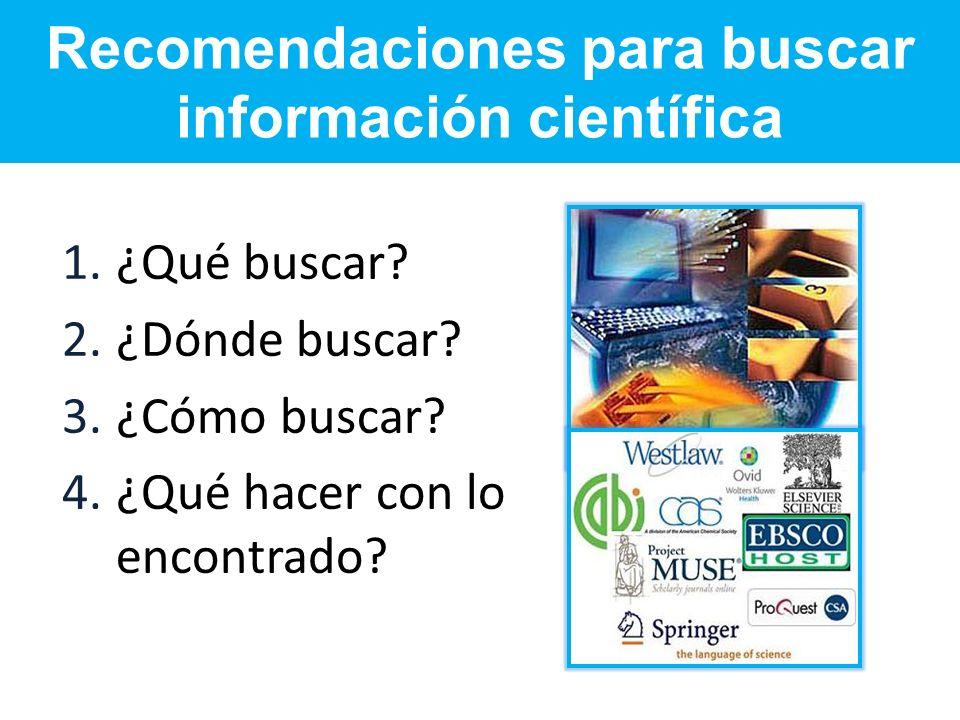 Recomendaciones para buscar información científica
