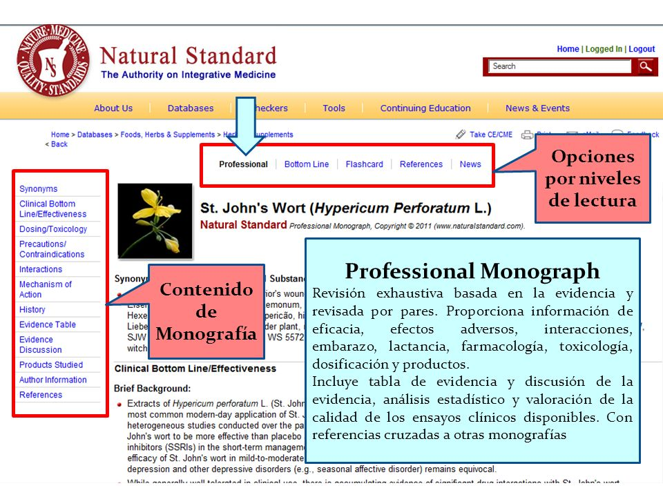Opciones por niveles de lectura Contenido de Monografía