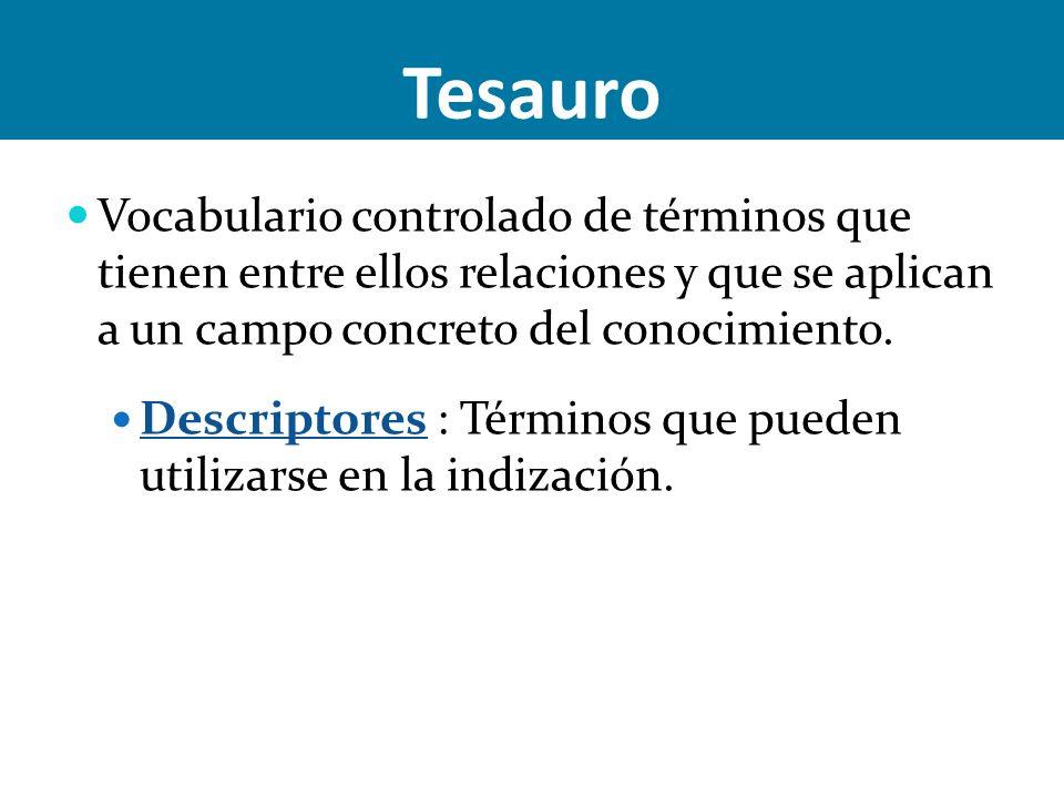 Tesauro Vocabulario controlado de términos que tienen entre ellos relaciones y que se aplican a un campo concreto del conocimiento.