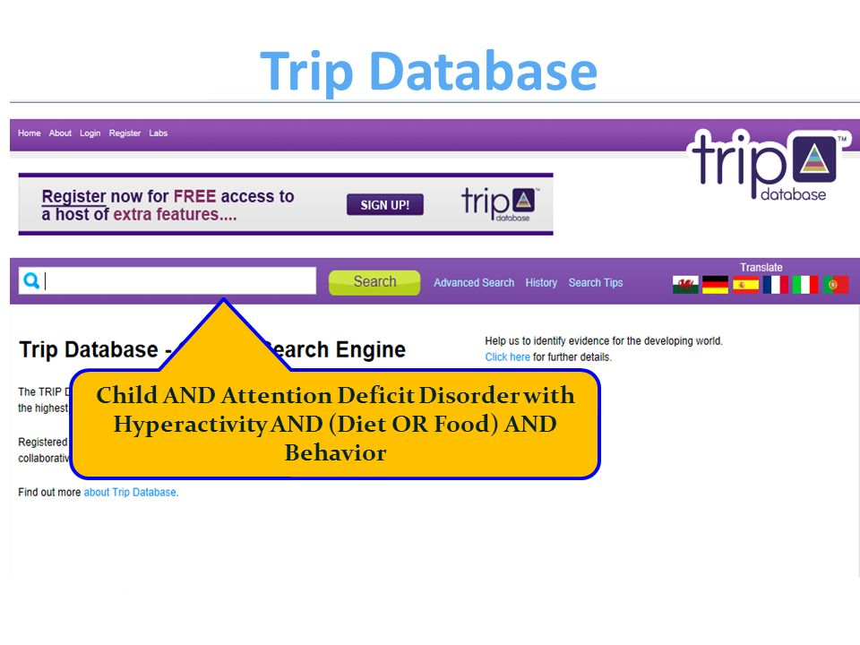 Trip Database Child AND Attention Deficit Disorder with Hyperactivity AND (Diet OR Food) AND Behavior.