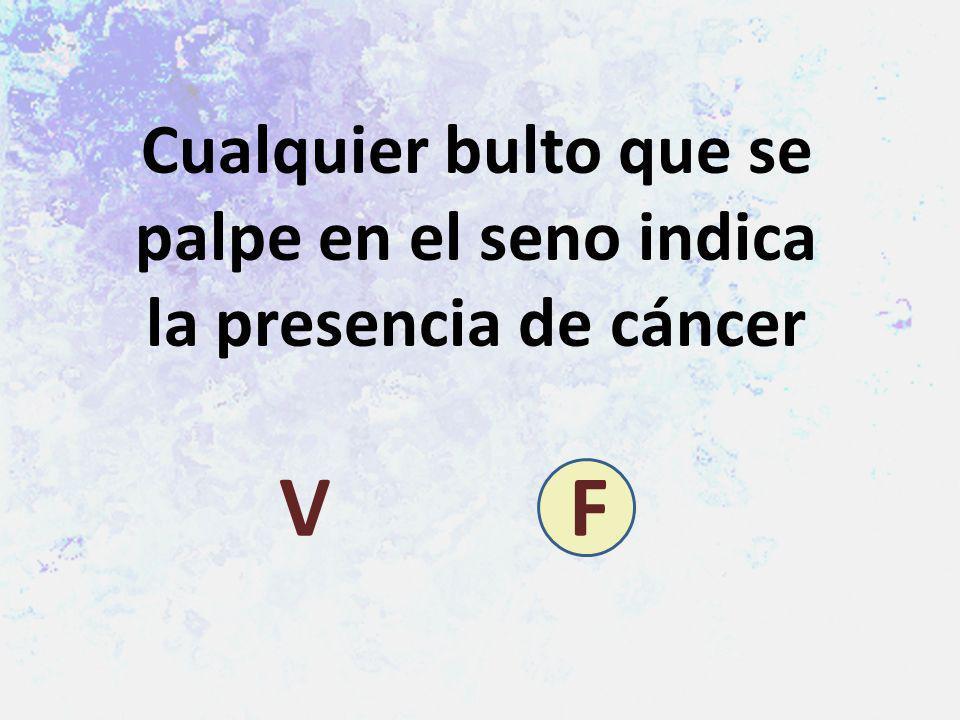 Cualquier bulto que se palpe en el seno indica la presencia de cáncer