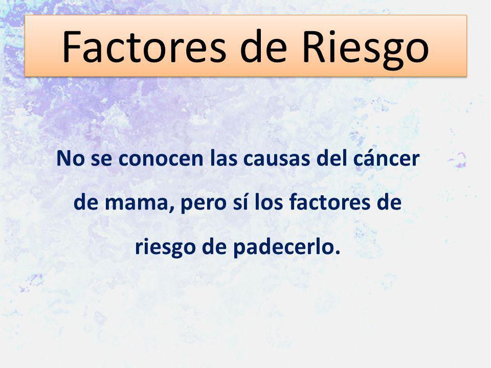 Factores de RiesgoNo se conocen las causas del cáncer de mama, pero sí los factores de riesgo de padecerlo.