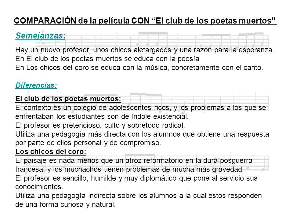 COMPARACIÓN de la película CON El club de los poetas muertos