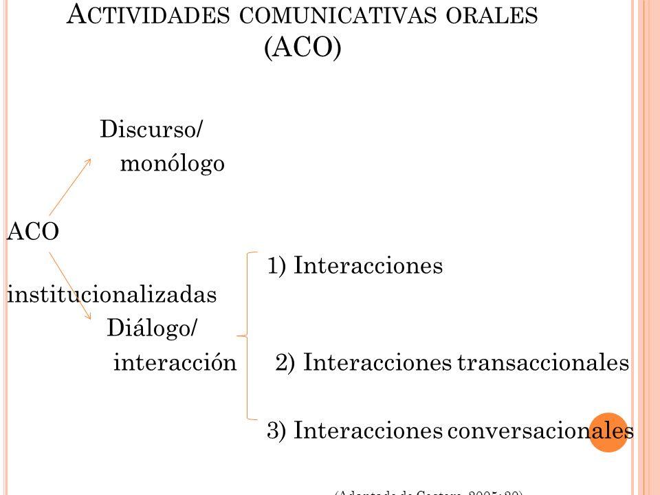 Actividades comunicativas orales (ACO)