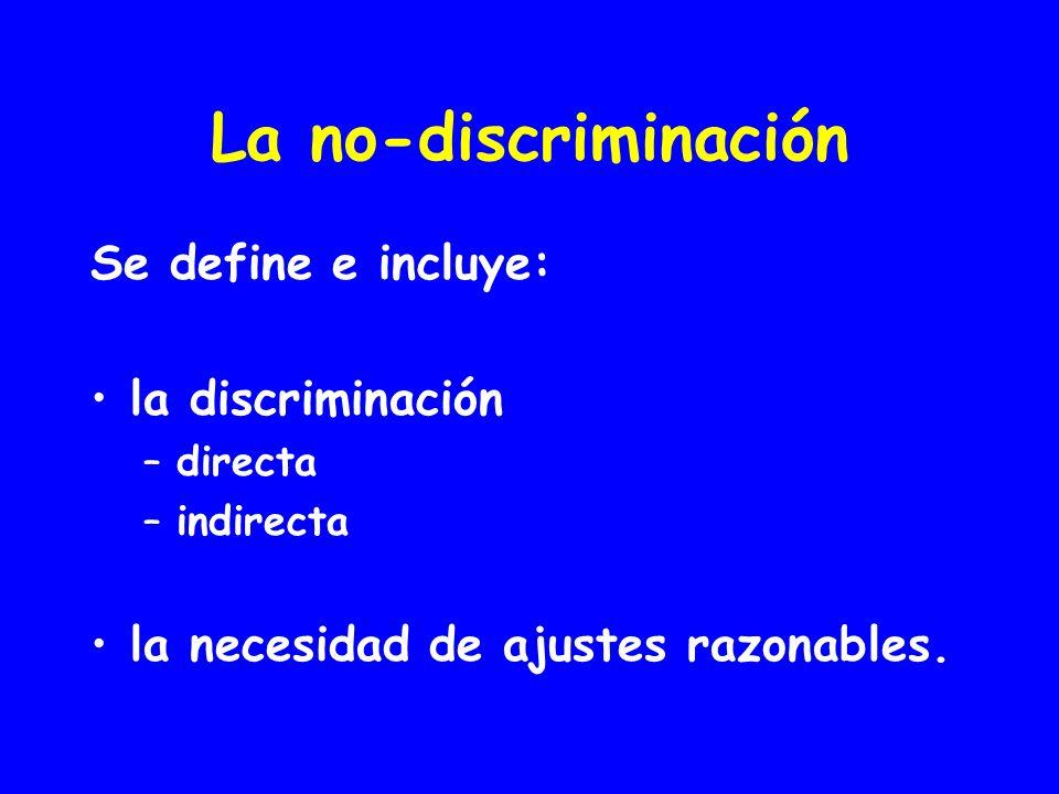 La no-discriminación Se define e incluye: la discriminación
