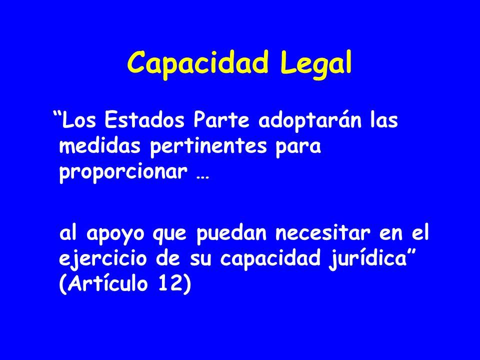 Capacidad Legal Los Estados Parte adoptarán las medidas pertinentes para proporcionar …