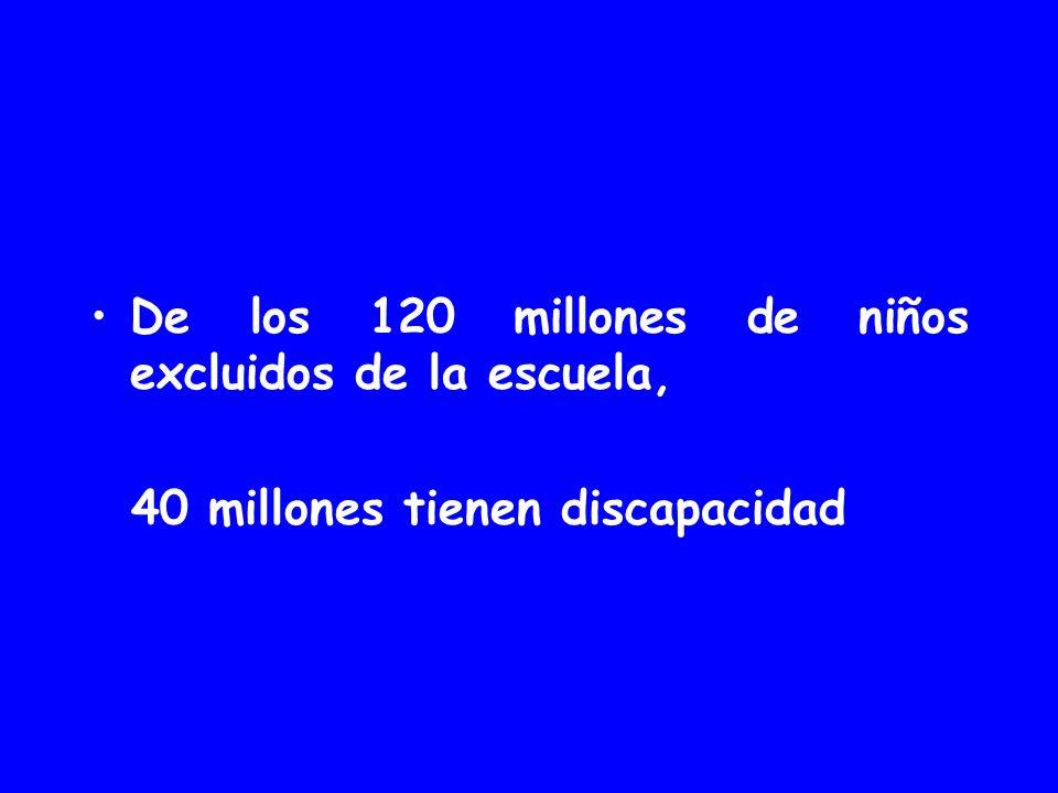 De los 120 millones de niños excluidos de la escuela,