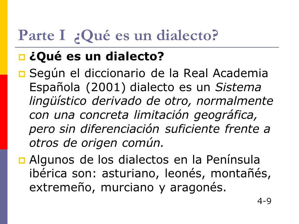Parte I ¿Qué es un dialecto