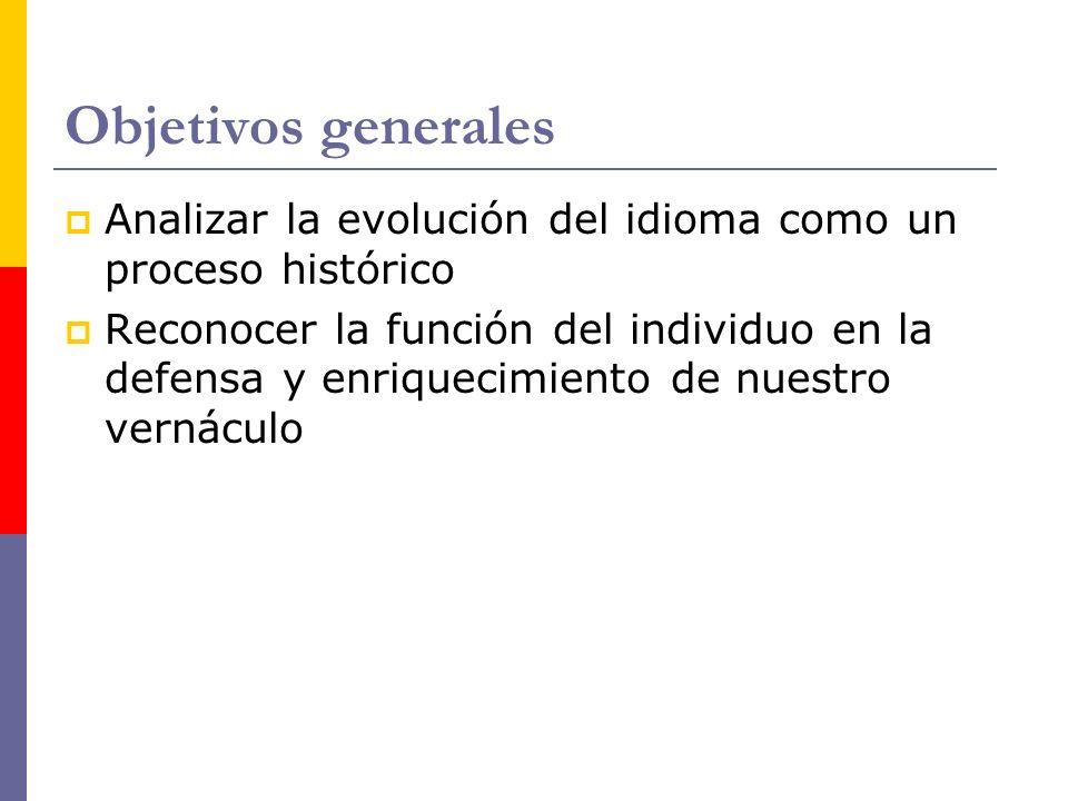 Objetivos generales Analizar la evolución del idioma como un proceso histórico.