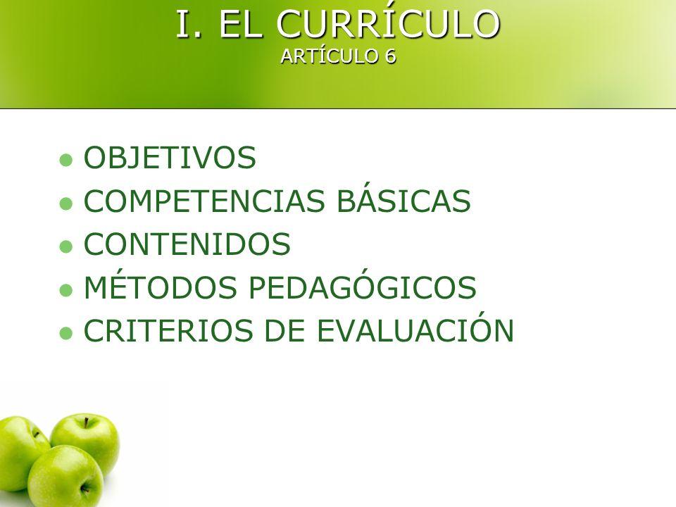 I. EL CURRÍCULO ARTÍCULO 6