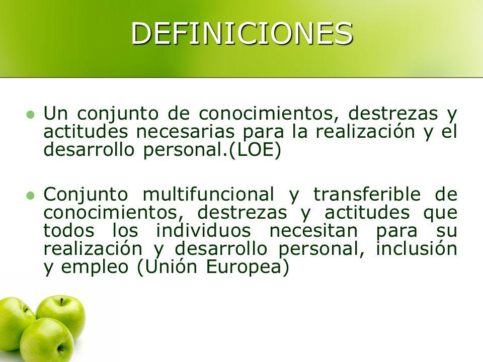 DEFINICIONES Un conjunto de conocimientos, destrezas y actitudes necesarias para la realización y el desarrollo personal.(LOE)
