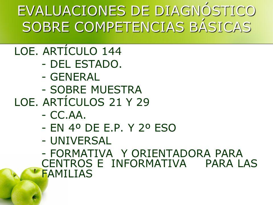 EVALUACIONES DE DIAGNÓSTICO SOBRE COMPETENCIAS BÁSICAS