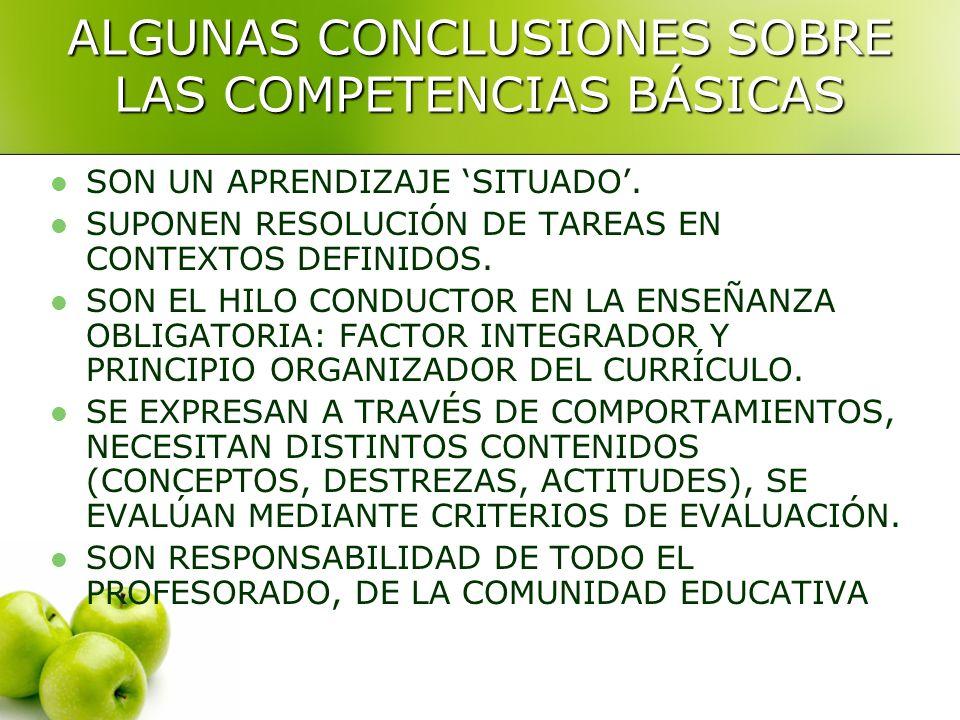 ALGUNAS CONCLUSIONES SOBRE LAS COMPETENCIAS BÁSICAS