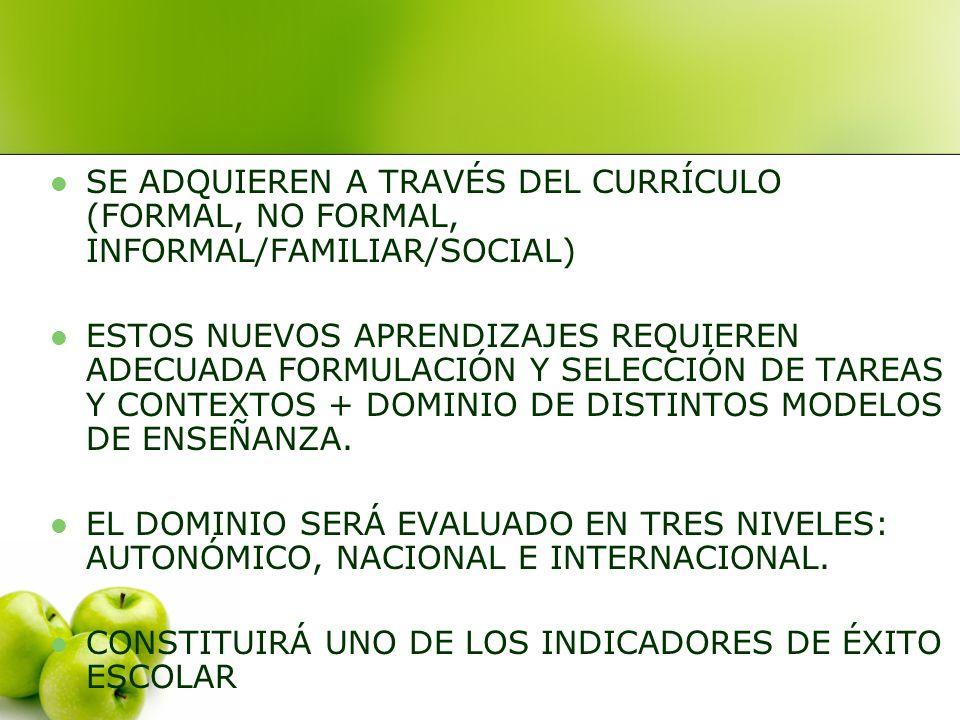 SE ADQUIEREN A TRAVÉS DEL CURRÍCULO (FORMAL, NO FORMAL, INFORMAL/FAMILIAR/SOCIAL)