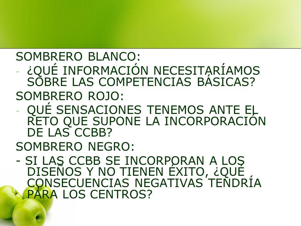 SOMBRERO BLANCO: ¿QUÉ INFORMACIÓN NECESITARÍAMOS SOBRE LAS COMPETENCIAS BÁSICAS SOMBRERO ROJO: