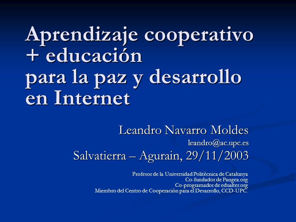 Aprendizaje cooperativo + educación para la paz y desarrollo en Internet
