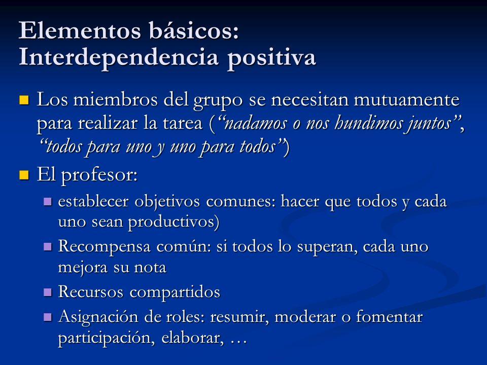 Elementos básicos: Interdependencia positiva