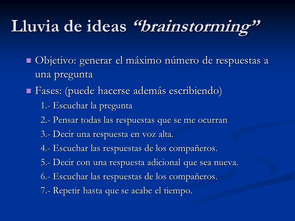 Lluvia de ideas brainstorming