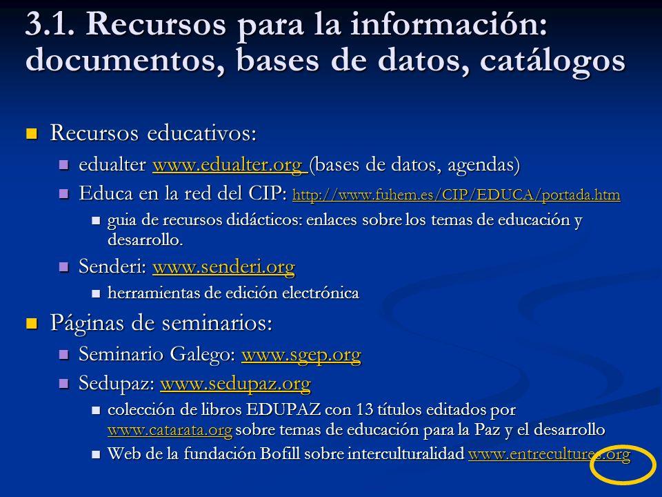 3.1. Recursos para la información: documentos, bases de datos, catálogos