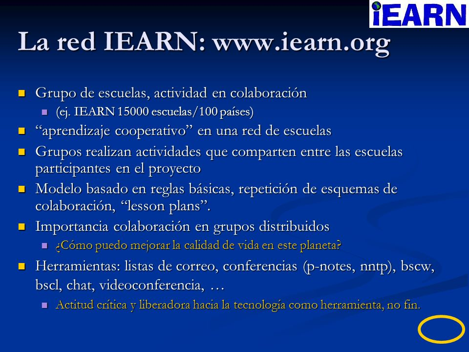 La red IEARN: www.iearn.org