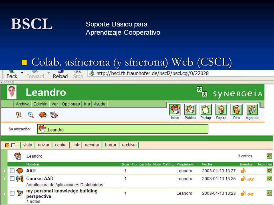 BSCL Colab. asíncrona (y síncrona) Web (CSCL)