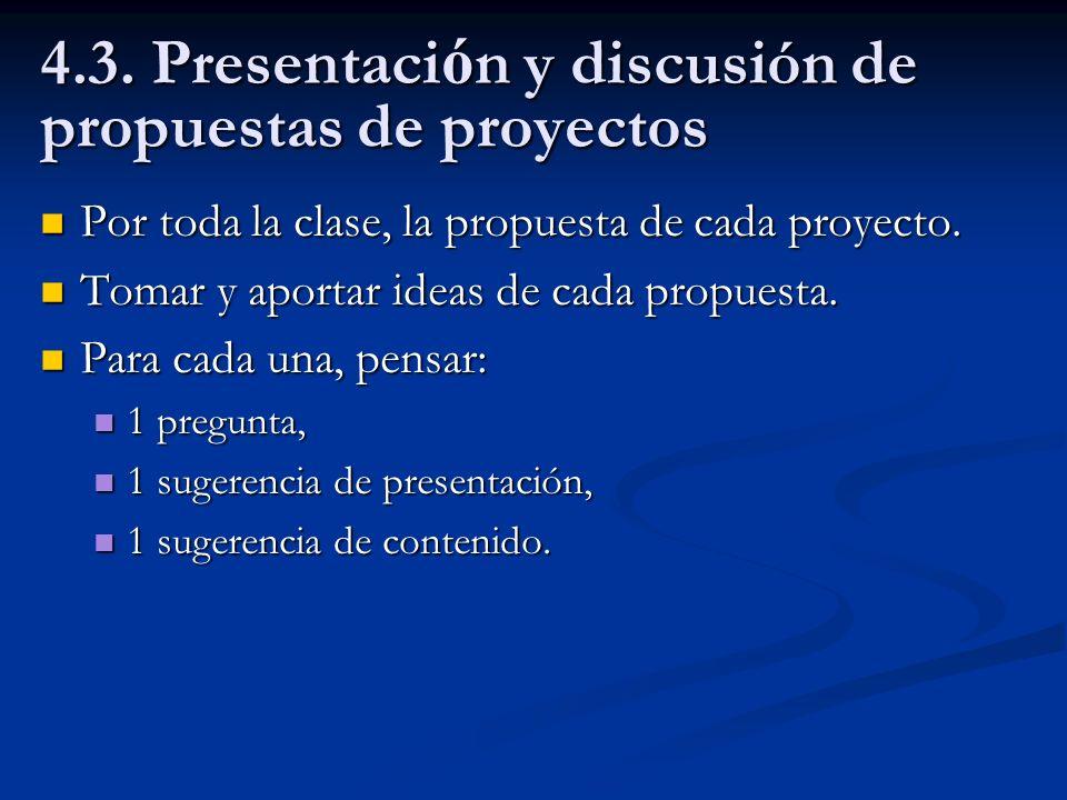 4.3. Presentación y discusión de propuestas de proyectos