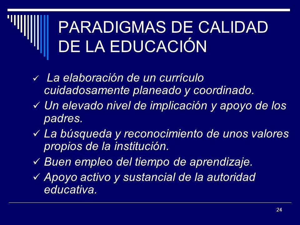 PARADIGMAS DE CALIDAD DE LA EDUCACIÓN
