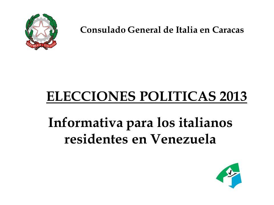 Informativa para los italianos residentes en Venezuela